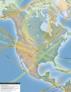 Eclipses over North America 2001-2050