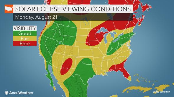 Eclipse weather forecast map