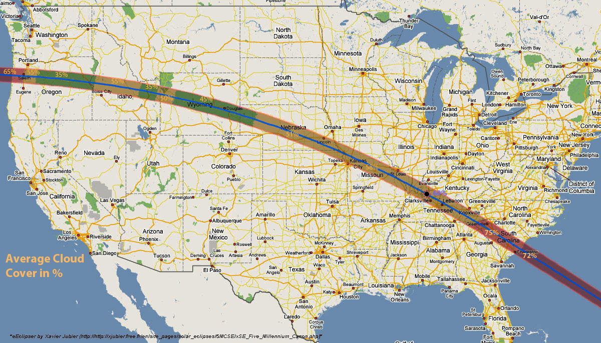 Average Cloud Cover On Eclipse Path